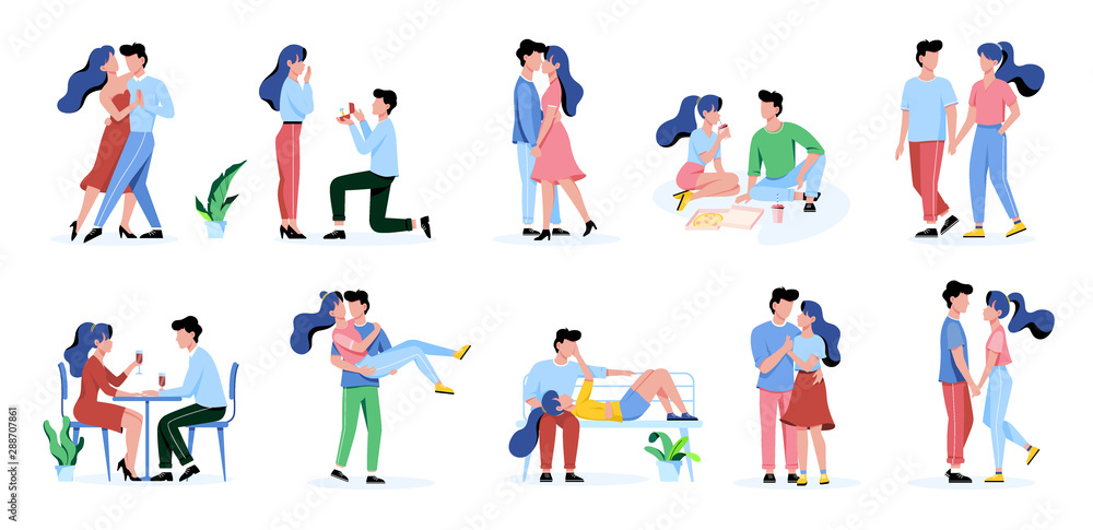 Fototapeta Set of happy romantic couple. Man and woman on the date