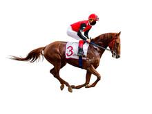Jockey Horse Racing Isolated On White Background