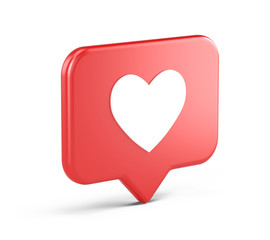 Like social media notification icon with heart symbol. Social media success concept - 3d rendering