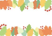 カラフルな秋色の葉っぱのフレームのイラスト