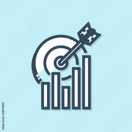Blue line Target with graph chart icon isolated on blue background Canvas Print