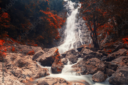 Photo sur Toile Cascades waterfall of Sarika National Park in autumn