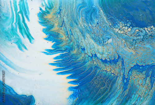 Printed kitchen splashbacks Crystals art photography of abstract marbleized effect background. turquoise, blue and gold creative colors. Beautiful paint.
