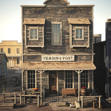 Rustic Western Antique Town Trading Post With Various Groceries And Goods. 3d Rendering. Part Of A Western Town Series