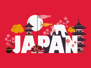 Japan famous symbols and la...