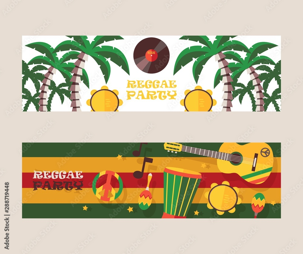 Fototapety, obrazy: Reggae party invitation, vector illustration. Jamaican style music festival announcement. Colorful flat design banners for reggae event
