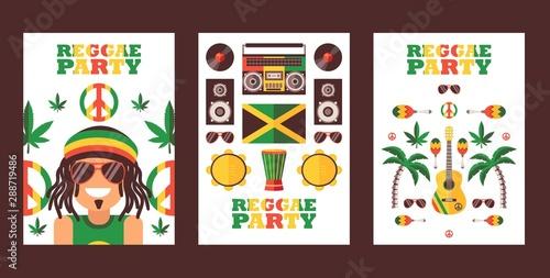 Reggae party invitation, vector illustration Fototapeta