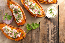 Baked Sweet Potato With Cream, Herbs And Spices