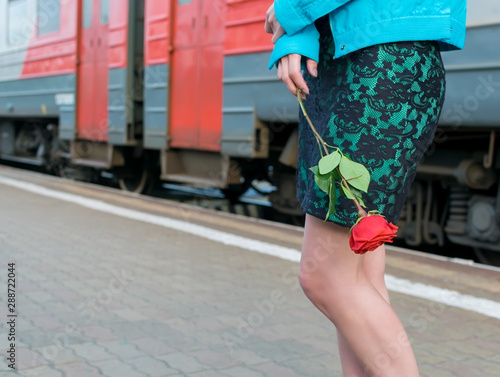 view of the waist and legs of a girl with a red rose flower in her hand on the p Wallpaper Mural