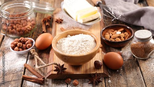 Valokuva  baking ingredient with flour, egg, nuts and spices