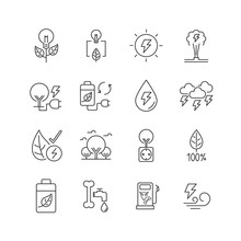Line Icon Set Is Energy From N...