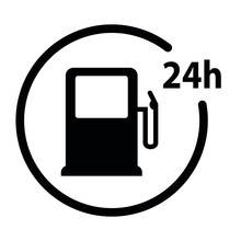 Gas Station Icon. Icon 24 Hour Black Vector Gas Station Sign