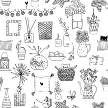 Seamless Pattern With Cute Things For Home Decor. Vector. Black And White Illustration.