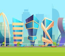 Future Metropolis City Skyline Building Cartoon Vector Illustration
