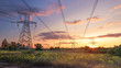 Leinwanddruck Bild - power line in the sunlight / bright abstract photo of the industrial zone