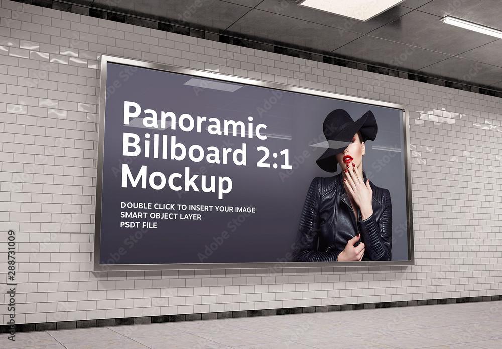 Fototapeta 2:1 Aspect Ratio Panoramic Billboard in Underground Mockup