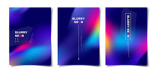 Set Of Abstract Blurry Neon Gl...