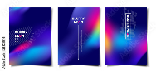 Obraz Set of abstract blurry neon glow background layout, cover, poster, wallpaper design template - fototapety do salonu