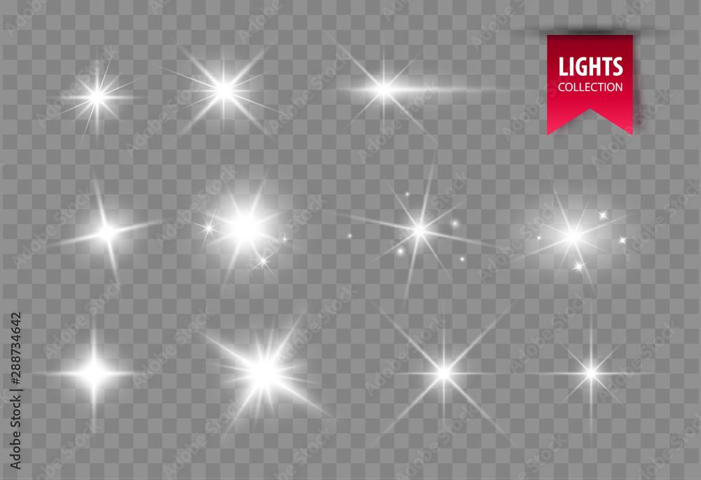Fototapety, obrazy: Shine glowing stars. Vector lights