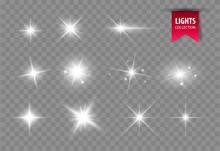 Shine Glowing Stars. Vector Lights