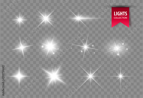 Cuadros en Lienzo Shine glowing stars. Vector lights