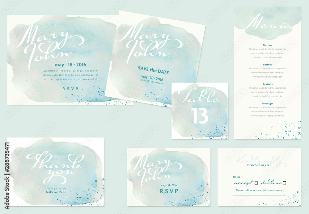 Fototapety, obrazy: Wedding Layout Set with Watercolor Elements