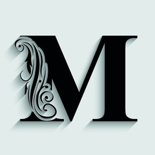 Letter M. Black Flower Alphabet.  Beautiful Capital Letters.