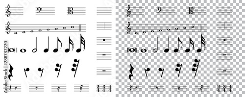 musical symbols , Elements of musical symbols, icons and annotations Canvas Print