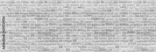Door stickers Brick wall Panoramic background of wide old white brick wall texture. Home or office design backdrop