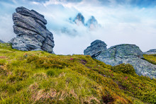 Impressive Summer View Of Mountai Peak In The Morning Mist. Beautiful Outdoors Scene With Huge Rocks. Beauty Of Nature Concept Background. Creative Collage. Orton Effect.
