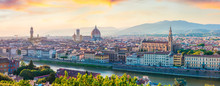 Fabulous Spring Panorama Of Florence With Cathedral Of Santa Maria Del Fiore (Duomo) And Basilica Of Santa Croce. Colorful Sunset In Tuscany, Italy, Europe. Traveling Concept Background.