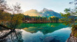 Bright autumn view of Hintersee lake. Fantastic morning scene of Bavarian Alps on the Austrian border, Germany, Europe. Beauty of nature concept background. Orton Effect.