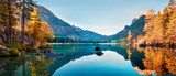 Fototapeta Fototapety z naturą - Fantastic autumn panorama on Hintersee lake. Colorful morning view of Bavarian Alps on the Austrian border, Germany, Europe. Beauty of nature concept background.