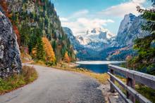 Splendid Autumn Scene Of Vorderer ( Gosausee ) Lake With Dachstein Glacier On Background. Amazing Morning View Of Austrian Alps, Upper Austria, Europe. Orton Effect.
