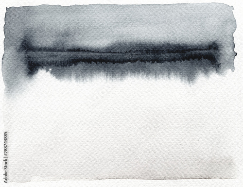 Abstract black and white watercolor and ink blot painted background. Isolated.