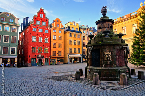 Canvas Prints Stockholm Colorful buildings of Stortorget, the main square in Gamla Stan, the Old Town of Stockholm, Sweden