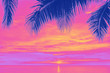 canvas print picture - Sunset and palms