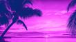 Leinwanddruck Bild - Sunset and palms