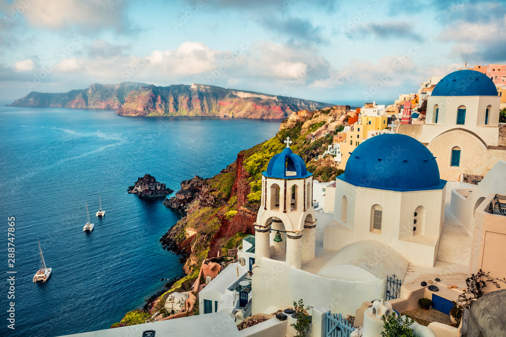 Fototapety, obrazy: Misty morning scene of Santorini island. Attractive spring cityscape of famous Greek resort Fira, Greece, Europe. Traveling concept background. Orton Effect.