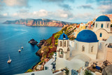 Misty morning scene of Santorini island. Attractive spring cityscape of famous Greek resort Fira, Greece, Europe. Traveling concept background. Orton Effect.