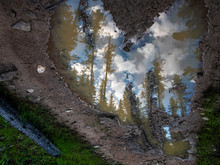 Heart Shaped Puddle Reflecting The Sky.