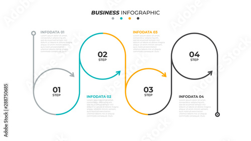 Business circle process lines design with arrows. Timeline with 4 steps or options. Vector linear infographic element.