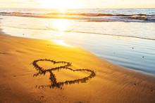 Couple Hearts On Sea Beach. Va...