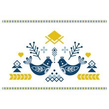 Folk Art Vector Ornament With Birds, Hearts, And Flowers. Scandinavian Design.