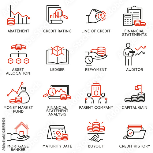 Photo Vector set of linear icons related to investment, financial advice and business management