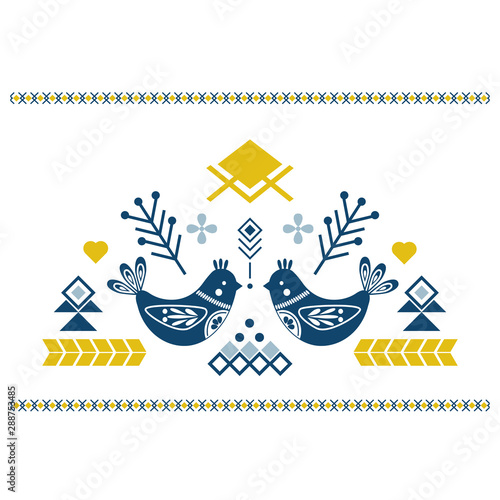 Stampa su Tela Folk art vector ornament with birds, hearts, and flowers