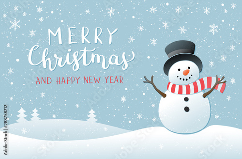 Fotografie, Obraz  Christmas background with snowman. New year illustration.