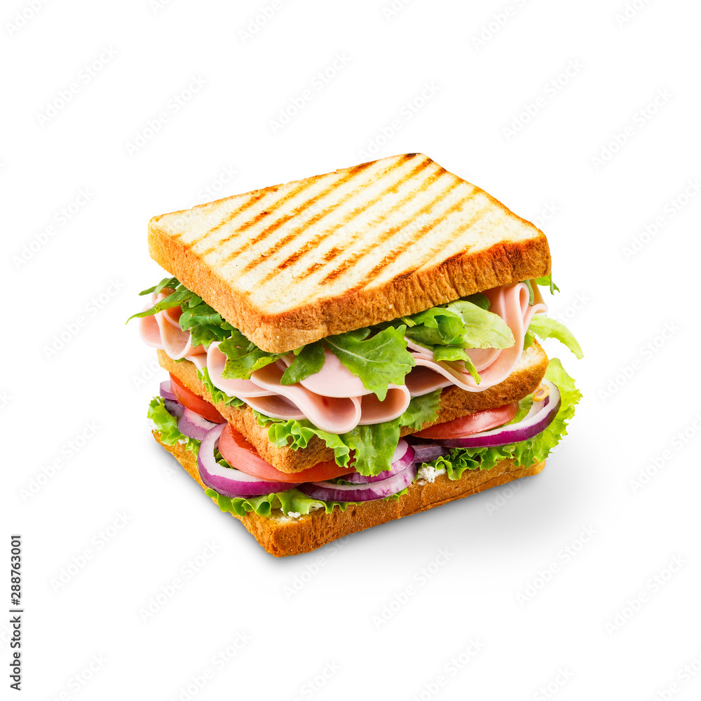Fototapety, obrazy: Big sandwich with ham, salad, and tomatoes