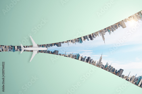 Poster Wall Decor With Your Own Photos Travel and changes concept with airplane flying above megapolis city in the form of lightning.