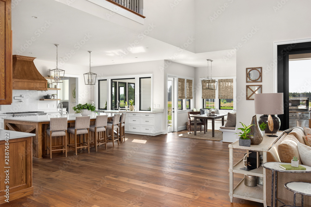 Fototapety, obrazy: Living Room, Kitchen, and Eating Nook in New Luxury Home with Open Concept Floor Plan
